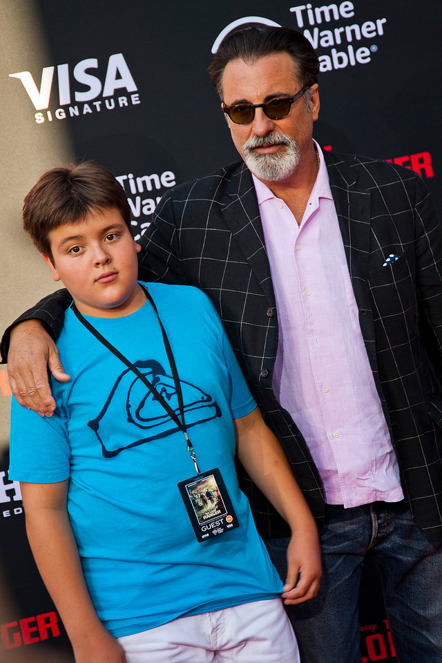 ANAHEIM, CA - JUNE 22: Actor Andy Garcia (R) and son Andres Antonio Garcia attend the premiere of Walt Disney Pictures' 'The Lone Ranger' at Disney California Adventure Park on Saturday, June 22, 2013 in Anaheim, California. (Photo by Tom Sorensen/Moovieboy Pictures)