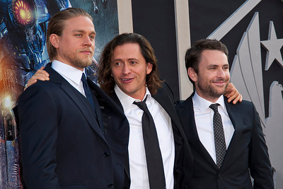 HOLLYWOOD, CA - JULY 09: Actors Charlie Hunnam, Clifton Collins Jr. and Charlie Day arrive at the premiere of Warner Bros. Pictures' and Legendary Pictures' 'Pacific Rim' at Dolby Theatre on Tuesday, July 9, 2013 in Hollywood, California. (Photo by Tom Sorensen/Moovieboy Pictures)