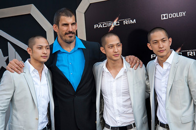 HOLLYWOOD, CA - JULY 09: Actors Charles Luu, Robert Maillet, Lance Luu and Mark Luu arrive at the premiere of Warner Bros. Pictures' and Legendary Pictures' 'Pacific Rim' at Dolby Theatre on Tuesday, July 9, 2013 in Hollywood, California. (Photo by Tom Sorensen/Moovieboy Pictures)