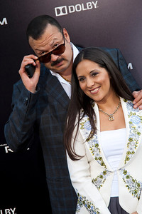 HOLLYWOOD, CA - JULY 09: Singer/songwriter Pepe Aguilar (L) and Anelisse Aguilar arrive at the premiere of Warner Bros. Pictures' and Legendary Pictures' 'Pacific Rim' at Dolby Theatre on Tuesday, July 9, 2013 in Hollywood, California. (Photo by Tom Sorensen/Moovieboy Pictures)