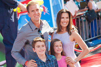 HOLLYWOOD, CA - AUGUST 05: Actor Regan Burns with family (L-R) Jackson Burns, Killian Burns and Jennifer Burns arrive at the Los Angeles premiere of 'Planes' at the El Capitan Theatre on Monday August 5, 2013 in Hollywood, California. (Photo by Tom Sorensen/Moovieboy Pictures)