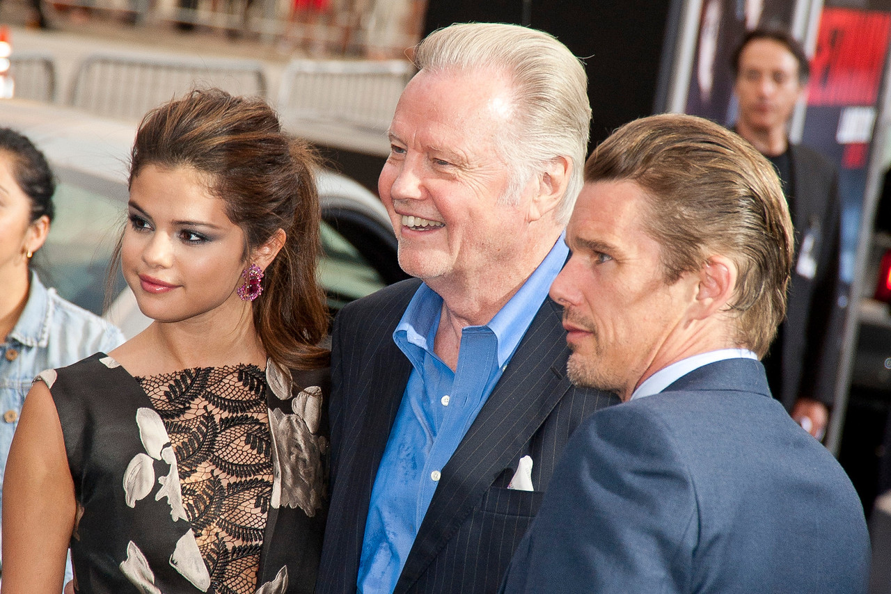 WESTWOOD, CA - AUGUST 26: Actors Selena Gomez, Jon Voight, and Ethan Hawke attend the premiere of 'Getaway' presented by Warner Bros. Pictures at Regency Village Theatre on Monday, August 26, 2013 in Westwood, California. (Photo by Tom Sorensen/Moovieboy Pictures)