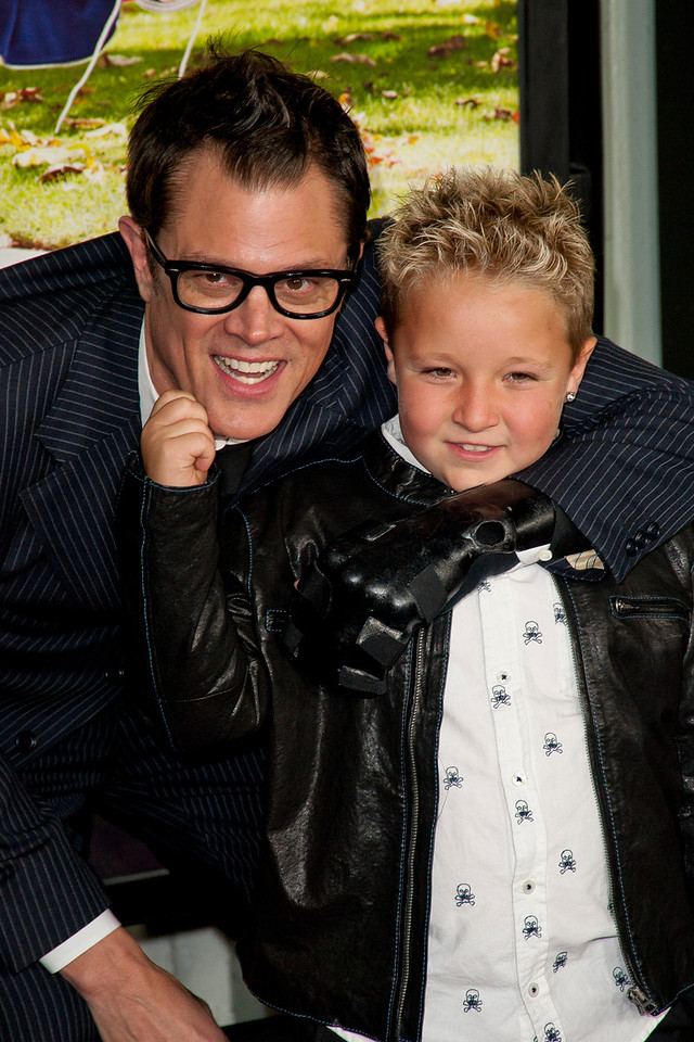 HOLLYWOOD, CA - OCTOBER 23: Actors Johnny Knoxville and Jackson Nicoll attend the premiere of Paramount Pictures' 'Jackass Presents: Bad Grandpa' at the TCL Chinese Theatre on Wednesday, October 23, 2013 in Hollywood, California. (Photo by Tom Sorensen/Moovieboy Pictures)