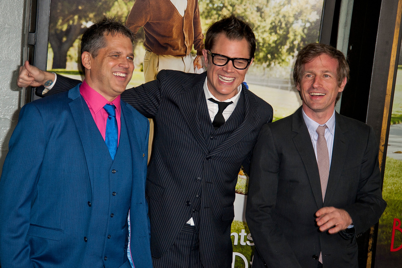 HOLLYWOOD, CA - OCTOBER 23: Director Jeff Tremaine, actor Johnny Knoxville and producer Spike Jonze attend the premiere of Paramount Pictures' 'Jackass Presents: Bad Grandpa' at the TCL Chinese Theatre on Wednesday, October 23, 2013 in Hollywood, California. (Photo by Tom Sorensen/Moovieboy Pictures)