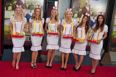 HOLLYWOOD, CA - OCTOBER 23: Candy stripers at the premiere of Paramount Pictures' 'Jackass Presents: Bad Grandpa' at the TCL Chinese Theatre on Wednesday, October 23, 2013 in Hollywood, California. (Photo by Tom Sorensen/Moovieboy Pictures)