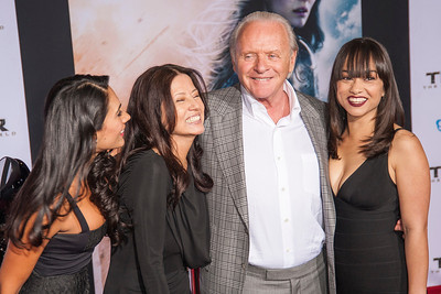 HOLLYWOOD, CA - NOVEMBER 04: Actor Sir Anthony Hopkins (2R) with family arrive at the premiere of Marvel's 'Thor: The Dark World' at the El Capitan Theatre on Monday, November 4, 2013 in Hollywood, California. (Photo by Tom Sorensen/Moovieboy Pictures)