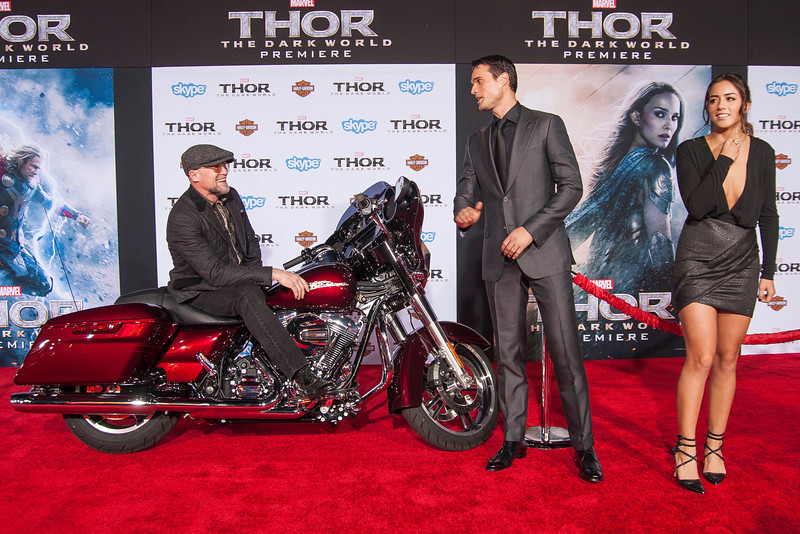 HOLLYWOOD, CA - NOVEMBER 04: Actors Michael Rooker, Brett Dalton and Chloe Bennet arrive at the premiere of Marvel's 'Thor: The Dark World' at the El Capitan Theatre on Monday, November 4, 2013 in Hollywood, California. (Photo by Tom Sorensen/Moovieboy Pictures)