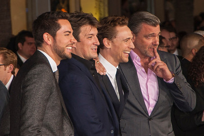 HOLLYWOOD, CA - NOVEMBER 04: (L-R) Actors Zachary Levi, Nathan Fillion, Tom Hiddleston and Ray Stevenson arrive at the premiere of Marvel's 'Thor: The Dark World' at the El Capitan Theatre on Monday, November 4, 2013 in Hollywood, California. (Photo by Tom Sorensen/Moovieboy Pictures)