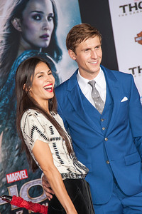 HOLLYWOOD, CA - NOVEMBER 04: Actor Jonathan Howard (L) and Elodie Yung arrive at the premiere of Marvel's 'Thor: The Dark World' at the El Capitan Theatre on Monday, November 4, 2013 in Hollywood, California. (Photo by Tom Sorensen/Moovieboy Pictures)