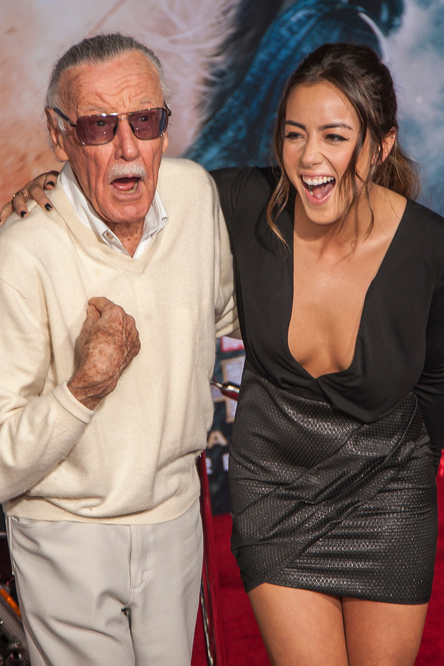 HOLLYWOOD, CA - NOVEMBER 04: Executive producer Stan Lee and actress Chloe Bennet arrive at the premiere of Marvel's 'Thor: The Dark World' at the El Capitan Theatre on Monday, November 4, 2013 in Hollywood, California. (Photo by Tom Sorensen/Moovieboy Pictures)