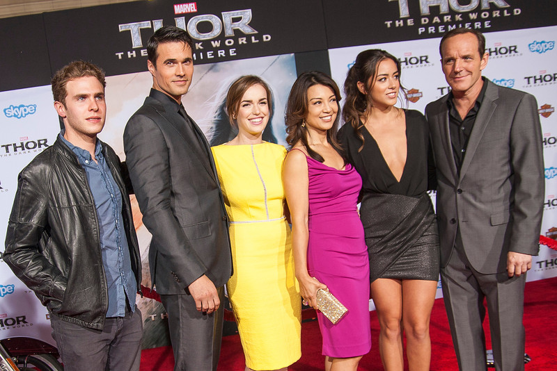 HOLLYWOOD, CA - NOVEMBER 04: Actors Iain De Caestecker, Brett Dalton, Elizabeth Henstridge, Ming-Na Wen, Chloe Bennet and Clark Gregg arrive at the premiere of Marvel's 'Thor: The Dark World' at the El Capitan Theatre on Monday, November 4, 2013 in Hollywood, California. (Photo by Tom Sorensen/Moovieboy Pictures)