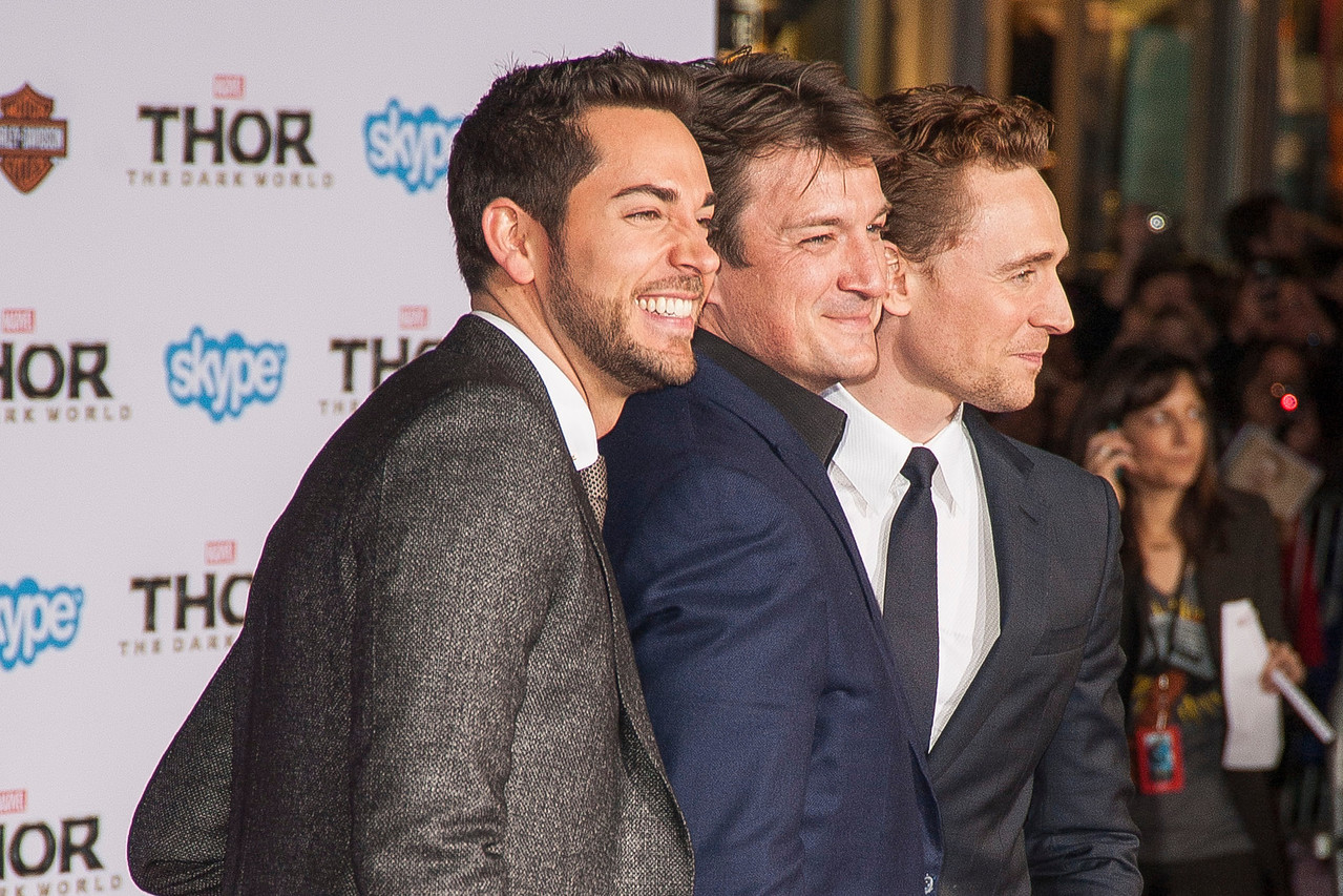 HOLLYWOOD, CA - NOVEMBER 04: (L-R) Actors Zachary Levi, Nathan Fillion and Tom Hiddleston arrive at the premiere of Marvel's 'Thor: The Dark World' at the El Capitan Theatre on Monday, November 4, 2013 in Hollywood, California. (Photo by Tom Sorensen/Moovieboy Pictures)