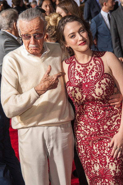 HOLLYWOOD, CA - NOVEMBER 04: Executive producer Stan Lee and actress Kat Dennings arrive at the premiere of Marvel's 'Thor: The Dark World' at the El Capitan Theatre on Monday, November 4, 2013 in Hollywood, California. (Photo by Tom Sorensen/Moovieboy Pictures)