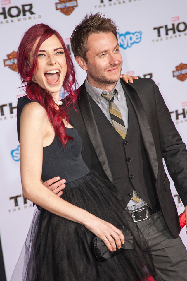 HOLLYWOOD, CA - NOVEMBER 04: Chloe Dykstra (L) and Chris Hardwick arrive at the premiere of Marvel's 'Thor: The Dark World' at the El Capitan Theatre on Monday, November 4, 2013 in Hollywood, California. (Photo by Tom Sorensen/Moovieboy Pictures)