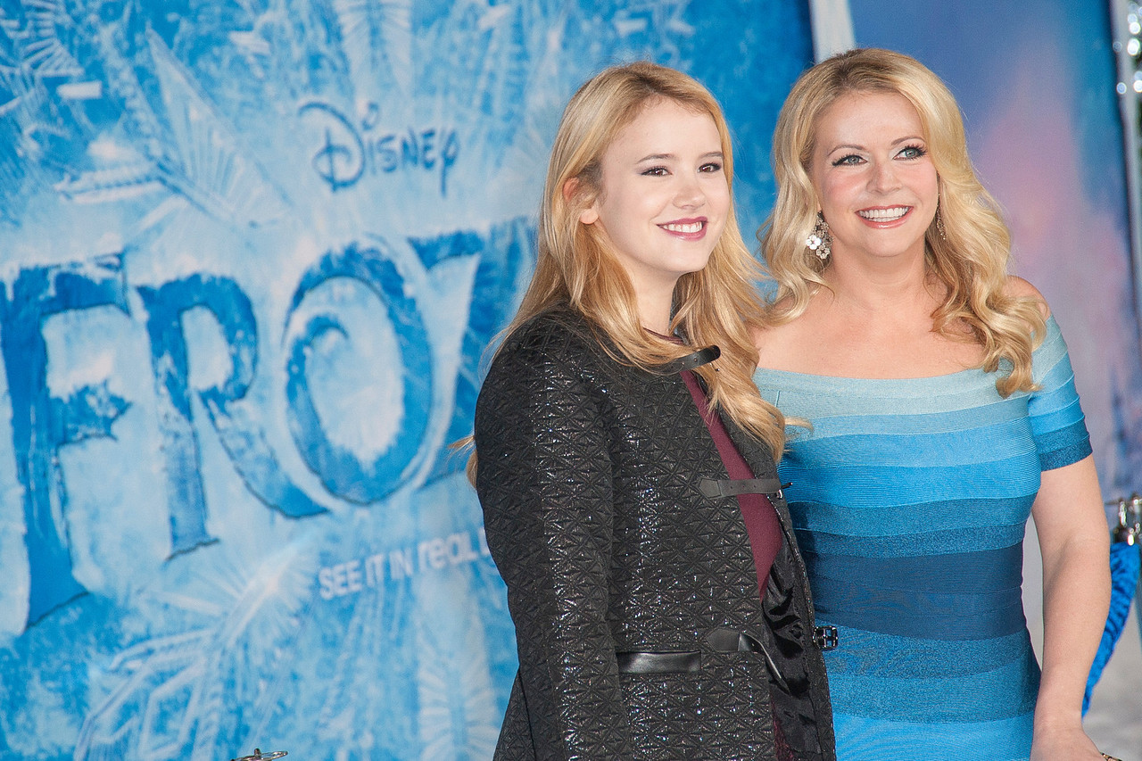 HOLLYWOOD, CA - NOVEMBER 19: Actors Melissa Joan Hart (R) and Taylor Spreitler arrive at the premiere of Walt Disney Animation Studios' 'Frozen'at the El Capitan Theatre on Tuesday, November 19, 2013 in Hollywood, California. (Photo by Tom Sorensen/Moovieboy Pictures)