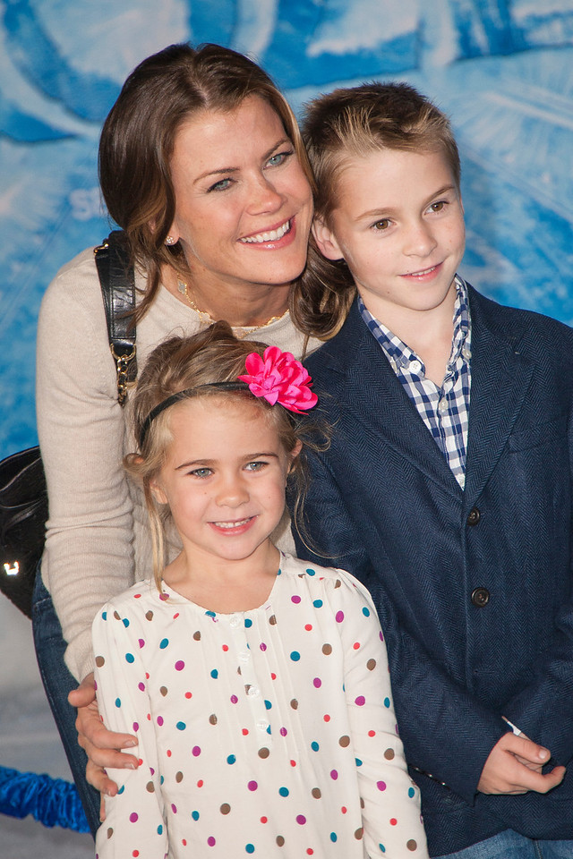 HOLLYWOOD, CA - NOVEMBER 19: Actress Alison Sweeney and family arrive at the premiere of Walt Disney Animation Studios' 'Frozen'at the El Capitan Theatre on Tuesday, November 19, 2013 in Hollywood, California. (Photo by Tom Sorensen/Moovieboy Pictures)