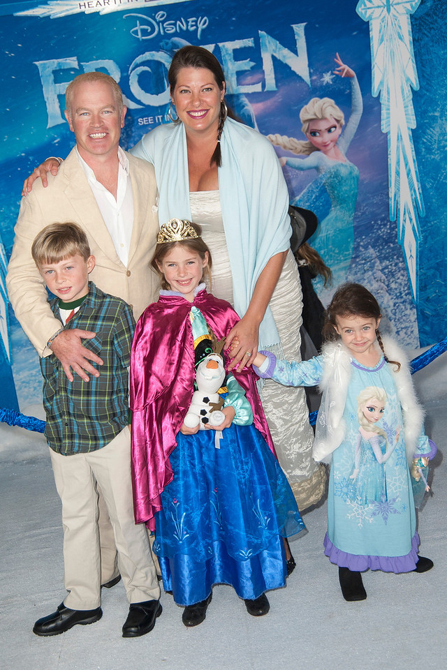 HOLLYWOOD, CA - NOVEMBER 19: Actor Neal McDonough, wife Ruve Robertson and kids arrive at the premiere of Walt Disney Animation Studios' 'Frozen'at the El Capitan Theatre on Tuesday, November 19, 2013 in Hollywood, California. (Photo by Tom Sorensen/Moovieboy Pictures)
