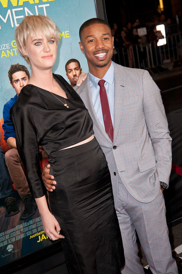 LOS ANGELES, CA - JANUARY 27: Actors Mackenzie Davis and Michael B. Jordan arrive at the premiere of Focus Features' 'That Awkward Moment' at Regal Cinemas L.A. Live on January 27, 2014 in Los Angeles, California. (Photo by Tom Sorensen/Moovieboy Pictures)