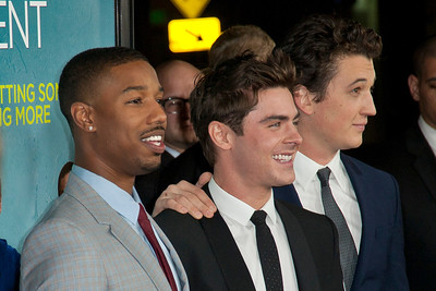 LOS ANGELES, CA - JANUARY 27: Actors Michael B. Jordan, Zac Efron and Miles Teller arrive at the premiere of Focus Features' 'That Awkward Moment' at Regal Cinemas L.A. Live on January 27, 2014 in Los Angeles, California. (Photo by Tom Sorensen/Moovieboy Pictures)