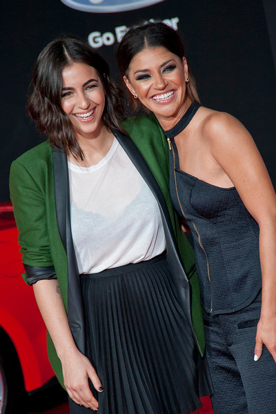 HOLLYWOOD, CA - MARCH 06: Actress Alanna Masterson and Jessica Szohr arrive at the premiere of DreamWorks Pictures' 'Need For Speed' at TCL Chinese Theatre on March 6, 2014 in Hollywood, California. (Photo by Tom Sorensen/Moovieboy Pictures)