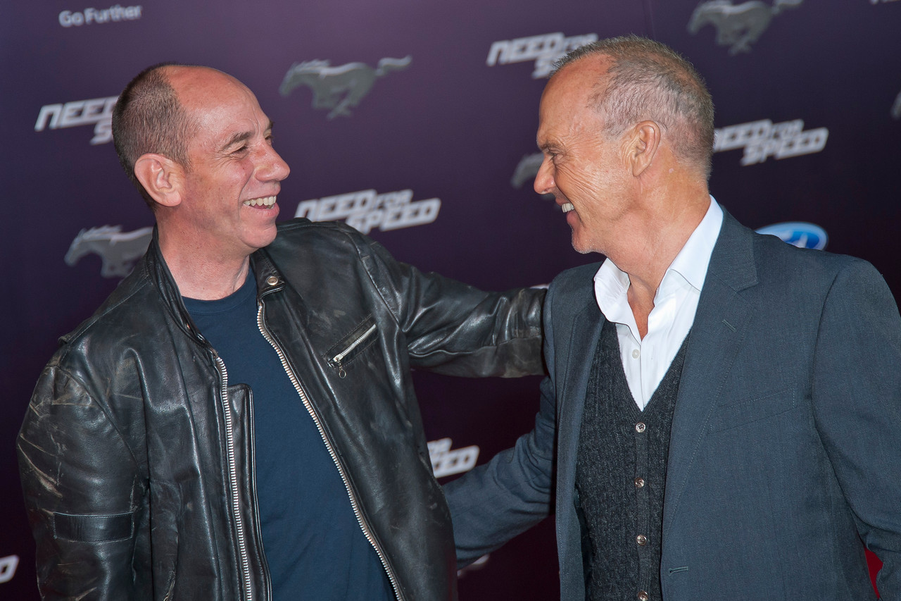 HOLLYWOOD, CA - MARCH 06: Actors Miguel Ferrer and Michael Keaton arrive at the premiere of DreamWorks Pictures' 'Need For Speed' at TCL Chinese Theatre on March 6, 2014 in Hollywood, California. (Photo by Tom Sorensen/Moovieboy Pictures)