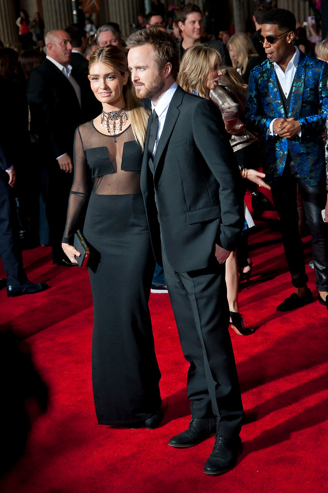 HOLLYWOOD, CA - MARCH 06: Lauren Parsekian (L) and actor Aaron Paul arrive at the premiere of DreamWorks Pictures' 'Need For Speed' at TCL Chinese Theatre on March 6, 2014 in Hollywood, California. (Photo by Tom Sorensen/Moovieboy Pictures)