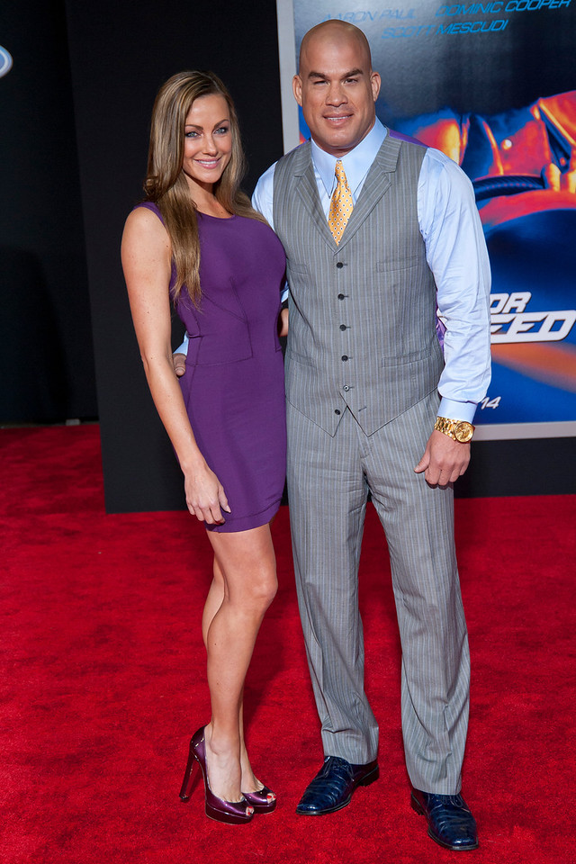 HOLLYWOOD, CA - MARCH 06: Tito Ortiz (R) and Amber Nicole arrive at the premiere of DreamWorks Pictures' 'Need For Speed' at TCL Chinese Theatre on March 6, 2014 in Hollywood, California. (Photo by Tom Sorensen/Moovieboy Pictures)