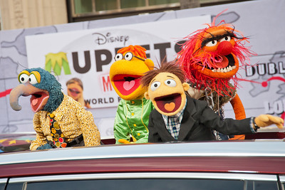 HOLLYWOOD, CA - MARCH 11: Muppet characters The Great Gonzo, Scooter, Walter and Animal arrive for the premiere of Disney's 'Muppets Most Wanted' at the El Capitan Theatre on Tuesday March 11, 2014 in Hollywood, California. (Photo by Tom Sorensen/Moovieboy Pictures)