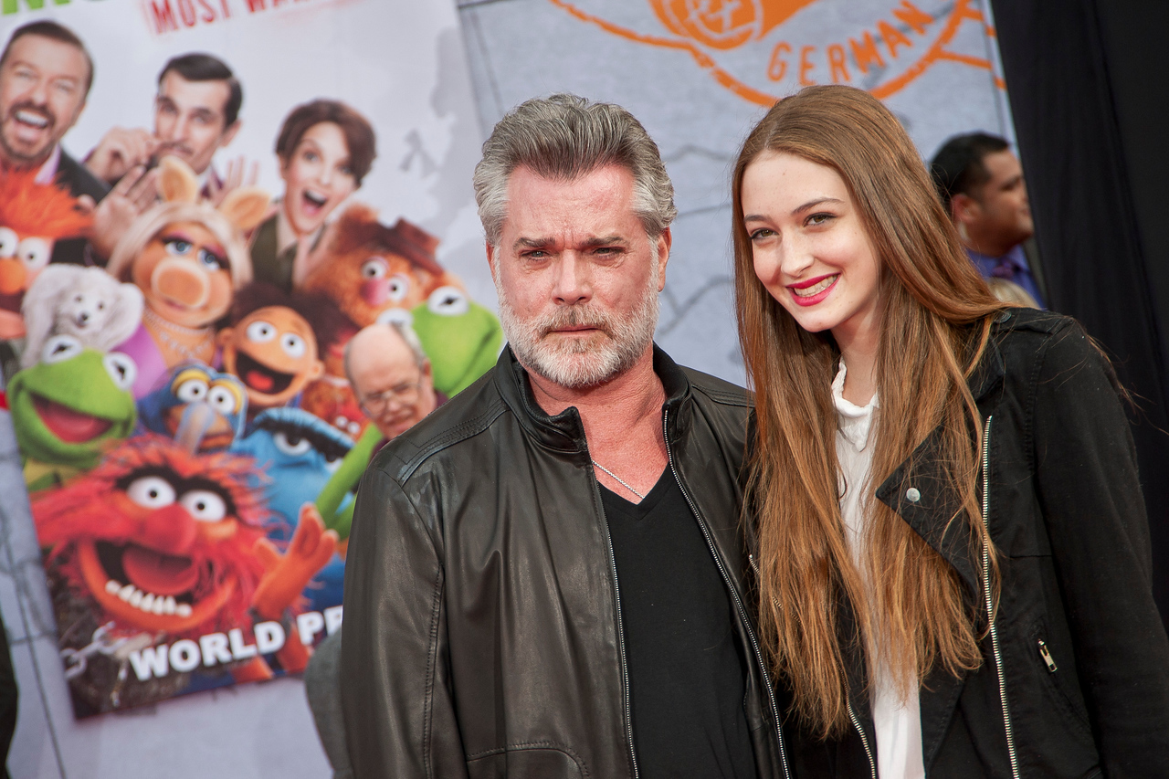 HOLLYWOOD, CA - MARCH 11: Actor Ray Liotta and daughter Karsen Liotta arrive for the premiere of Disney's 'Muppets Most Wanted' at the El Capitan Theatre on Tuesday March 11, 2014 in Hollywood, California. (Photo by Tom Sorensen/Moovieboy Pictures)