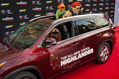HOLLYWOOD, CA - MARCH 11: Muppet charcters Fozzie Bear, Rowlf, Scooter, The Great Gonzo, Animal and Walter arrive for the premiere of Disney's 'Muppets Most Wanted' at the El Capitan Theatre on Tuesday March 11, 2014 in Hollywood, California. (Photo by Tom Sorensen/Moovieboy Pictures)