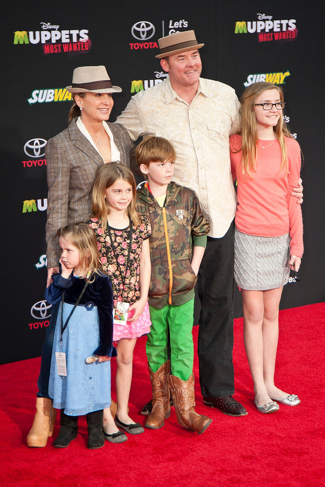 HOLLYWOOD, CA - MARCH 11: Actor David Koechner and family arrive for the premiere of Disney's 'Muppets Most Wanted' at the El Capitan Theatre on Tuesday March 11, 2014 in Hollywood, California. (Photo by Tom Sorensen/Moovieboy Pictures)