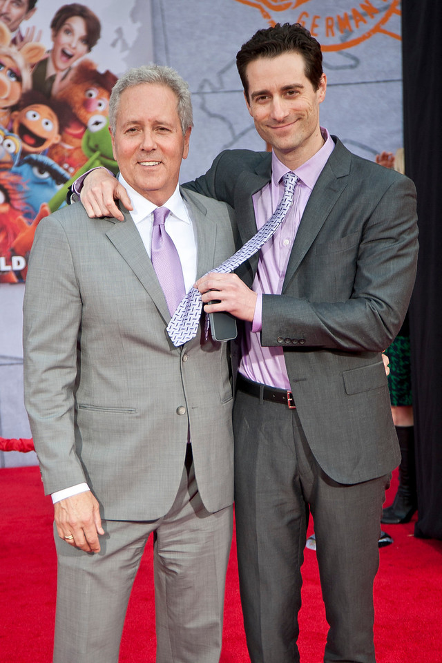HOLLYWOOD, CA - MARCH 11: Producers David Hoberman (L) and Todd Lieberman arrive for the premiere of Disney's 'Muppets Most Wanted' at the El Capitan Theatre on Tuesday March 11, 2014 in Hollywood, California. (Photo by Tom Sorensen/Moovieboy Pictures)