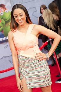 HOLLYWOOD, CA - MARCH 11: Actress Tia Mowry arrives for the premiere of Disney's 'Muppets Most Wanted' at the El Capitan Theatre on Tuesday March 11, 2014 in Hollywood, California. (Photo by Tom Sorensen/Moovieboy Pictures)