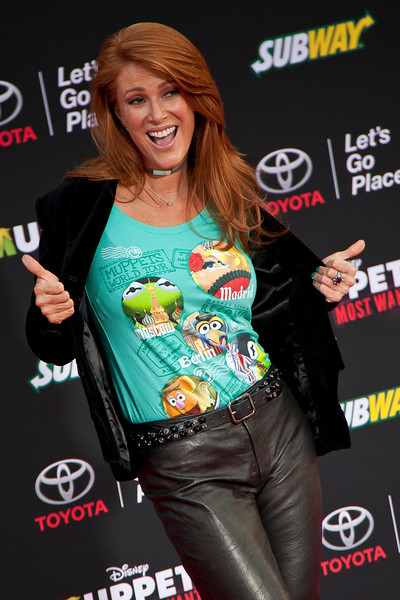 HOLLYWOOD, CA - MARCH 11: Angie Everhart arrives for the premiere of Disney's 'Muppets Most Wanted' at the El Capitan Theatre on Tuesday March 11, 2014 in Hollywood, California. (Photo by Tom Sorensen/Moovieboy Pictures)