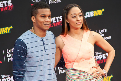 HOLLYWOOD, CA - MARCH 11: Actors Cory D. Hardrict and Tia Mowry arrive for the premiere of Disney's 'Muppets Most Wanted' at the El Capitan Theatre on Tuesday March 11, 2014 in Hollywood, California. (Photo by Tom Sorensen/Moovieboy Pictures)