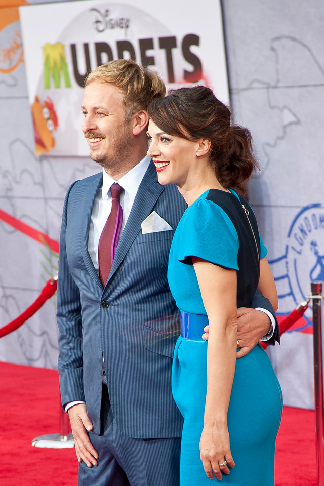 HOLLYWOOD, CA - MARCH 11: Director James Bobin and wife Fran Beauman arrive for the premiere of Disney's 'Muppets Most Wanted' at the El Capitan Theatre on Tuesday March 11, 2014 in Hollywood, California. (Photo by Tom Sorensen/Moovieboy Pictures)