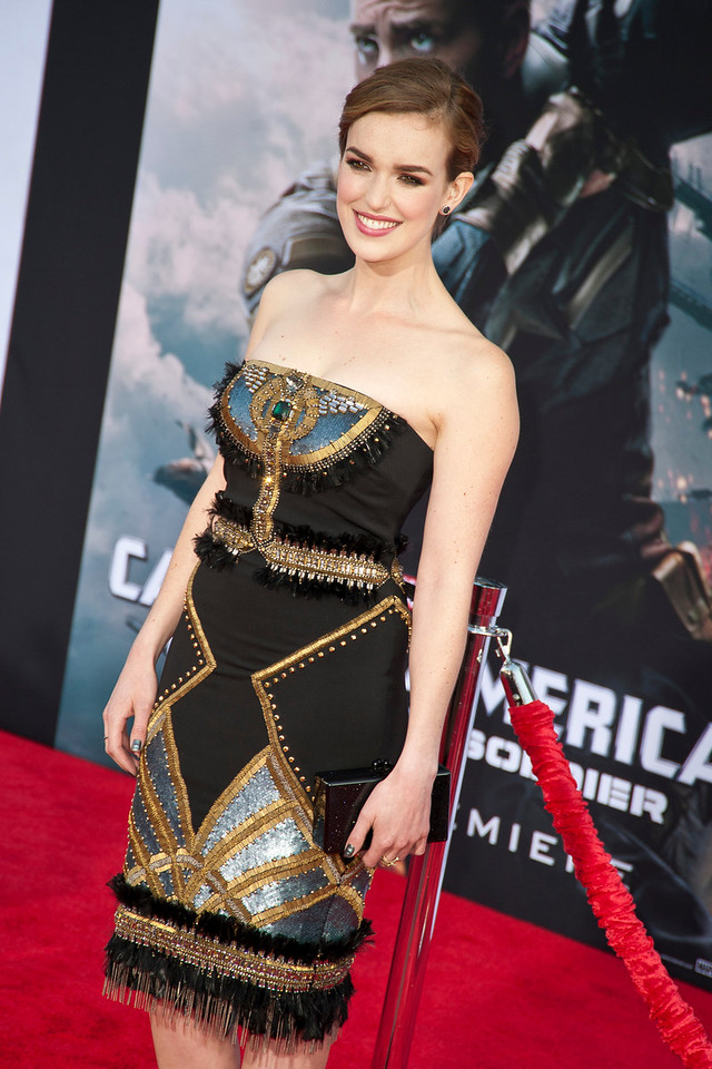 HOLLYWOOD, CA - MARCH 13: Actress Elizabeth Henstridge arrives at Marvel's 'Captain America: The Winter Soldier' premiere at the El Capitan Theatre onThursday,  March 13, 2014 in Hollywood, California. (Photo by Tom Sorensen/Moovieboy Pictures)