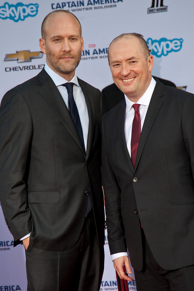 HOLLYWOOD, CA - MARCH 13: Writers Christopher Markus (R) and Stephen McFeely arrive at Marvel's 'Captain America: The Winter Soldier' premiere at the El Capitan Theatre onThursday,  March 13, 2014 in Hollywood, California. (Photo by Tom Sorensen/Moovieboy Pictures)