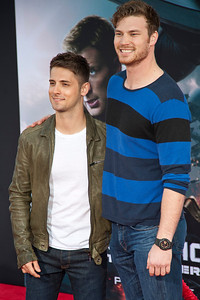 HOLLYWOOD, CA - MARCH 13: Actors Jean-Luc Bilodeau and Actor Derek Theler arrive at Marvel's 'Captain America: The Winter Soldier' premiere at the El Capitan Theatre onThursday,  March 13, 2014 in Hollywood, California. (Photo by Tom Sorensen/Moovieboy Pictures)