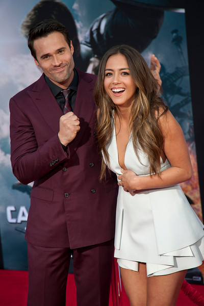 HOLLYWOOD, CA - MARCH 13: Actors Brett Dalton and Chloe Bennet arrive at Marvel's 'Captain America: The Winter Soldier' premiere at the El Capitan Theatre onThursday,  March 13, 2014 in Hollywood, California. (Photo by Tom Sorensen/Moovieboy Pictures)