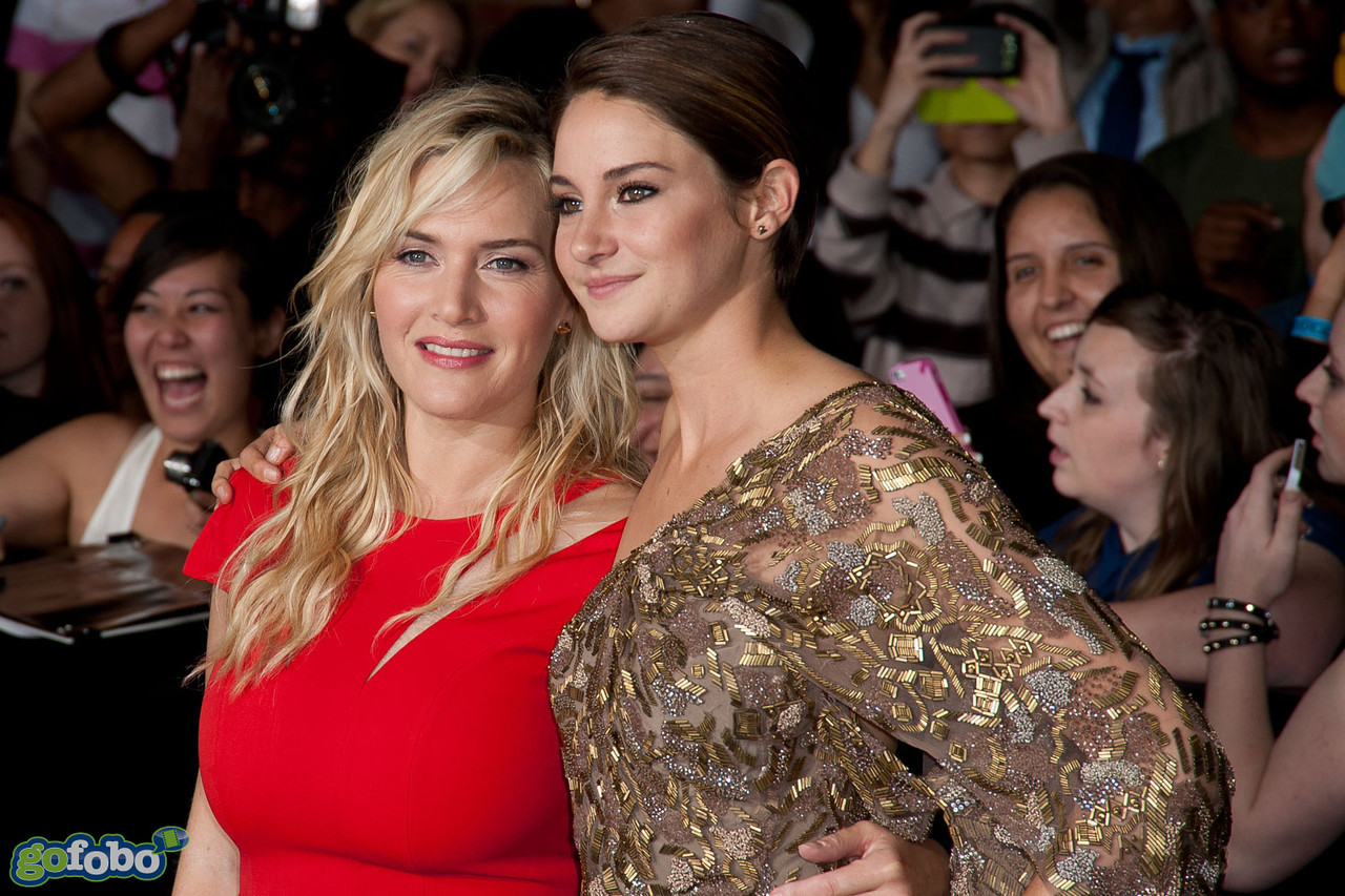 LOS ANGELES, CA - MARCH 18: Actresses Kate Winslet and Shailene Woodley arrive at the premiere of Summit Entertainment's 'Divergent' at the Regency Bruin Theatre on Tuesday, March 18, 2014 in Los Angeles, California. (Photo by Tom Sorensen/Moovieboy Pictures)