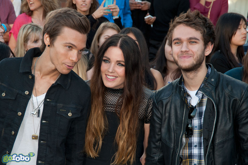 LOS ANGELES, CA - MARCH 18: Recording artists Matthew Koma, Miriam Bryant and Zedd arrive at the premiere of Summit Entertainment's 'Divergent' at the Regency Bruin Theatre on Tuesday, March 18, 2014 in Los Angeles, California. (Photo by Tom Sorensen/Moovieboy Pictures)