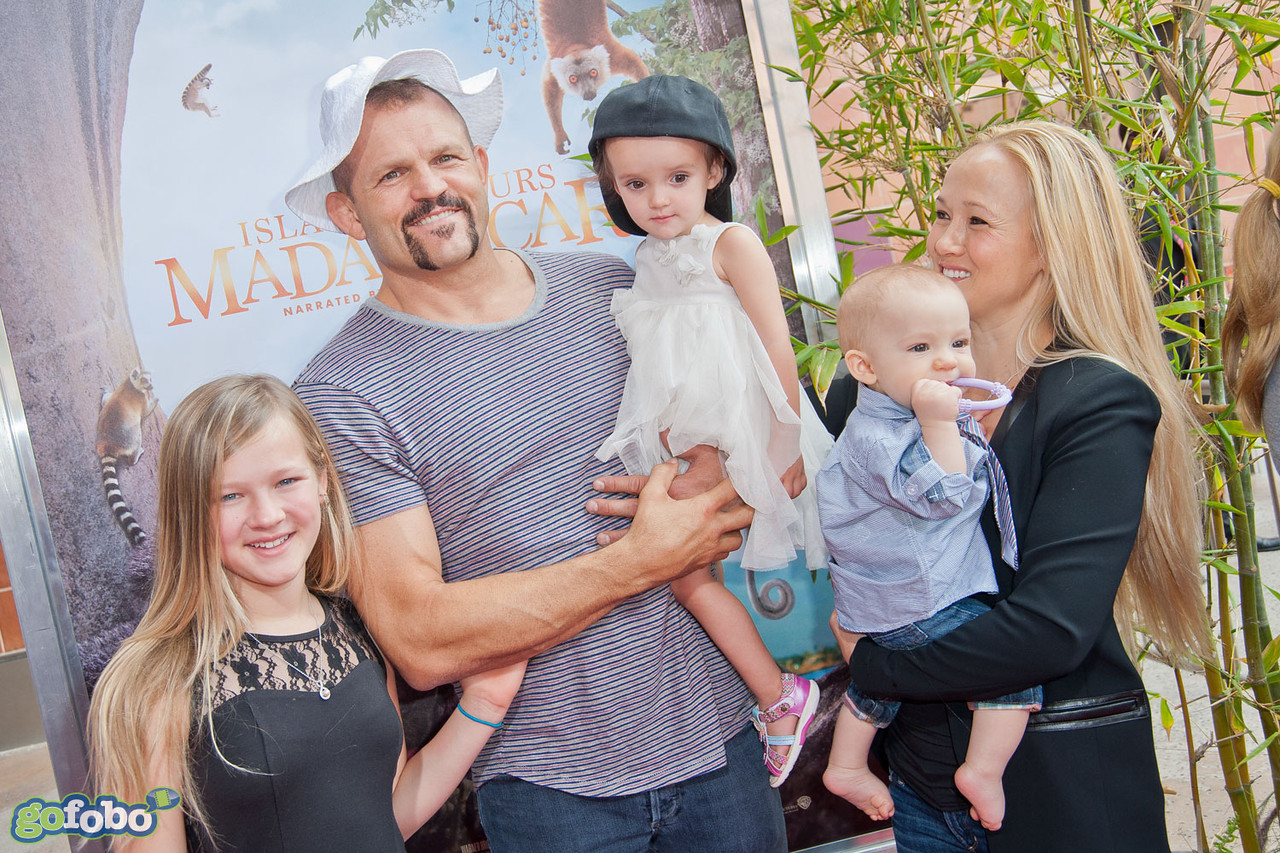 LOS ANGELES, CA - MARCH 29: UFC fighter Chuck Liddell and his family arrive at the premiere of 'Island Of Lemurs: Madagascar' at California Science Center on Saturday, March 29, 2014 in Los Angeles, California. (Photo by Tom Sorensen/Moovieboy Pictures)