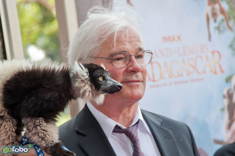 """LOS ANGELES, CA - MARCH 29: Director David Douglas and a lemur named """"Remy"""" arrive at the premiere of 'Island Of Lemurs: Madagascar' at California Science Center on Saturday, March 29, 2014 in Los Angeles, California. (Photo by Tom Sorensen/Moovieboy Pictures)"""