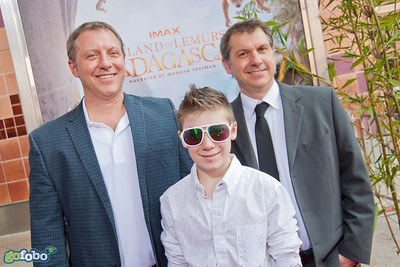 LOS ANGELES, CA - MARCH 29: Chris and Martin Kratt and guest arrive at the premiere of 'Island Of Lemurs: Madagascar' at California Science Center on Saturday, March 29, 2014 in Los Angeles, California. (Photo by Tom Sorensen/Moovieboy Pictures)