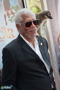 "LOS ANGELES, CA - MARCH 29: Actor Morgan Freeman and a lemur named ""Taj"" arrive at the premiere of 'Island Of Lemurs: Madagascar' at California Science Center on Saturday, March 29, 2014 in Los Angeles, California. (Photo by Tom Sorensen/Moovieboy Pictures)"