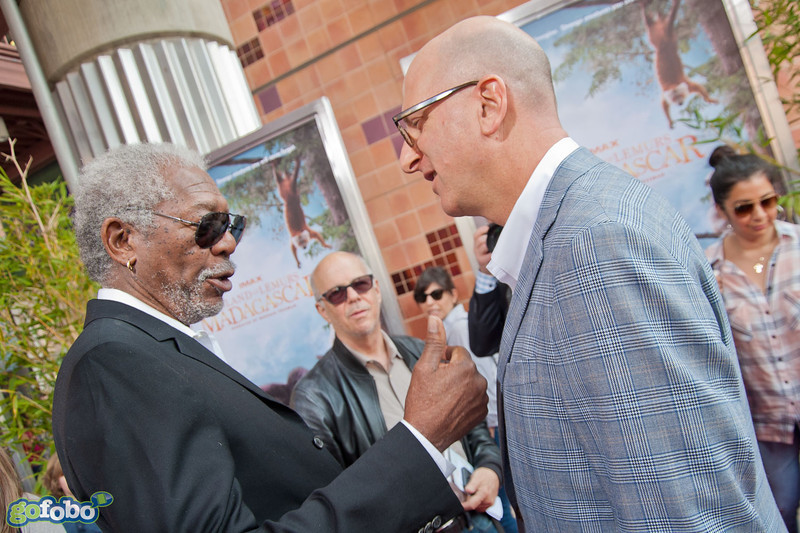 LOS ANGELES, CA - MARCH 29: Actor Morgan Freeman and Greg Forster, CEO of IMAX Entertainment and Senior Executive Vice President, IMAX Corp, arrive at the premiere of 'Island Of Lemurs: Madagascar' at California Science Center on Saturday, March 29, 2014 in Los Angeles, California. (Photo by Tom Sorensen/Moovieboy Pictures)