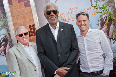 LOS ANGELES, CA - MARCH 29: Dan Fellman, President, Domestic Distribution, Warner Bros. Pictures, actor Morgan Freeman and producer/writer Drew Fellman arrive at the premiere of 'Island Of Lemurs: Madagascar' at California Science Center on Saturday, March 29, 2014 in Los Angeles, California. (Photo by Tom Sorensen/Moovieboy Pictures)