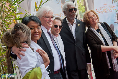 "LOS ANGELES, CA - MARCH 29: Vocalist Hanitrarivo Rasoanaivo, Director David Douglas, Writer/Producer Drew Fellman, actor Morgan Freeman, Dr. Patricia C. Wright and a lemur named ""Taj"" arrive at the premiere of 'Island Of Lemurs: Madagascar' at California Science Center on Saturday, March 29, 2014 in Los Angeles, California. (Photo by Tom Sorensen/Moovieboy Pictures)"