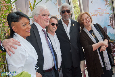 LOS ANGELES, CA - MARCH 29: Vocalist Hanitrarivo Rasoanaivo, Director David Douglas, Writer/Producer Drew Fellman, actor Morgan Freeman and Dr. Patricia C. Wright arrive at the premiere of 'Island Of Lemurs: Madagascar' at California Science Center on Saturday, March 29, 2014 in Los Angeles, California. (Photo by Tom Sorensen/Moovieboy Pictures)